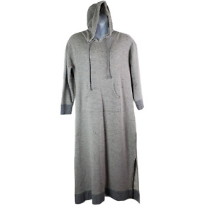Soft Surroundings Lazy Day Lounger Long Dress XL Gray Terry Knit Hooded Pockets