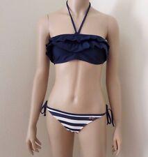 NEW Hollister Womens Swimsuit Halter Bikini Size Small Ruffles Navy & White