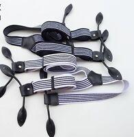 Men's Unisex Striped Adjustable Six Button Holes Suspenders Braces BDXJ2534