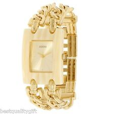 NEW GUESS MULTI STRAND GOLD TONE S/STEEL CHAIN LINKS+HORN CASE WATCH W11605L2