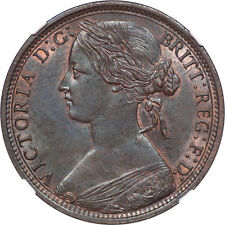 Great Britain 1868 Victoria Bronze Penny NGC MS-62 BN KEY DATE!!!
