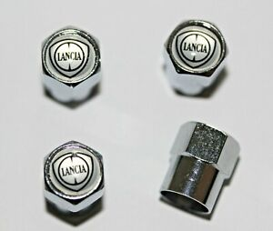 Lancia Silver Tire Valve Stem Caps Wheel - Plus Free Extra Cap - Total 5 Caps