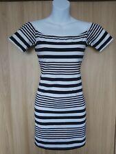 Motel Womens White/Black Striped Cotton Blend Short Bodycon dress Size L