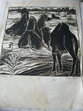 Hertha Olivet. Handdruck,1958.Signiert u, datiert. Wüstenlandschaft mit Kamelen
