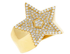 Mens Real Diamond Statement Pinky Super Star Ring 14k Yellow Gold 1 3/20ct