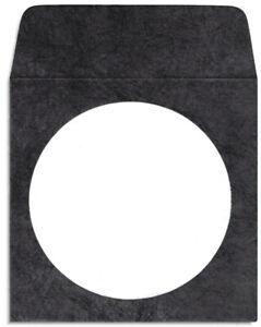 186-Pak BLACK TYVEK CD/DVD Sleeves with Window & Flap (slightly offset)