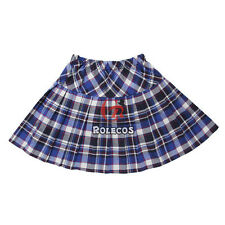 Women Rolecos Pleated Plaid Skirt Cosplay School Uniform Mini Kilt Tartan Dress