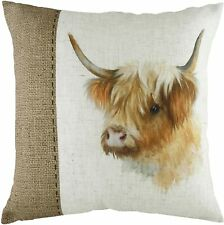 Evans Lichfield Hessian Cow cushion cover two sizes