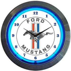 Ford Mustang White & Chrome Wall Clock with Running Horse Logo & Blue Neon Light