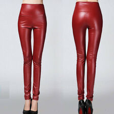 24 Colors Winter Women High Waist Slim Faux Leather Pants Warm Leggings Trousers