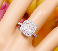 18K WHITE GOLD CUSHION FOREVER ONE MOISSANITE AND DIAMOND ENGAGEMENT RING 2.20CT