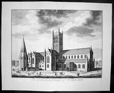 1724 Kip Large Folio Antique Print of Worcester Cathedral, England