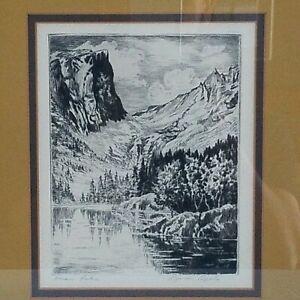 "Vtg Colorado Artist LYMAN BYXBE Etching Pencil Signed ""Dream Lake"" Framed Art *"