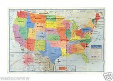 "USA United States Map Poster Size Wall Decoration Large Map of The USA 40"" x 28"""