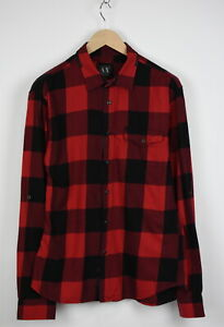 ARMANI EXCHANGE Men's LARGE Checked Roll-Up Sleeves Snap Buttons Shirt 32686-GS