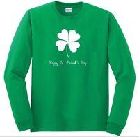 Happy St. Patrick's Day Green White T-shirt Clover Irish Green Long Sleeve Shirt