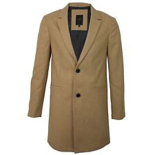 Mens Threadbare Wool Mix Smart Formal Collared Button Winter Trench Coat Jacket Camel Large
