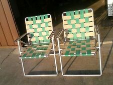 Vintage Double Barrel Aluminum Arm Mid Century  Webbed Folding Lawn Chairs