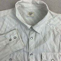 Old Navy Button Up Shirt Mens 2XL White Gray Long Sleeve Snap Closure Striped