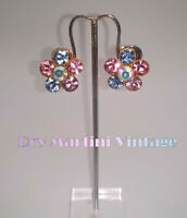 PERFECT VINTAGE 50s RHINESTONE CRYSTAL DAISY CLIP EARRINGS BRIDAL PRETTY PASTELS