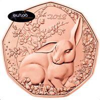 Pièce 5 euros commémorative AUTRICHE 2018 - Le Lapin de Paques - Cuivre 999/1000