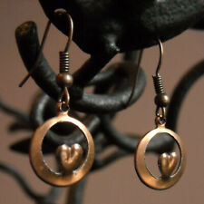 day love gift french wire Copper Heart hoop earrings valentines