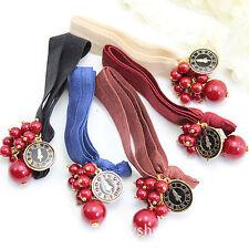 1PEICE Women Girls Cherry bead Elastic Hair Ponytail Holder bands Scrunchies