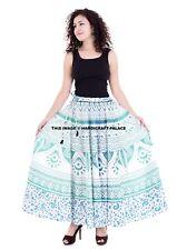 Ombre Mandala Waist Skater Bohemian Indian Cotton Long Skirt Handmade Wrap Body