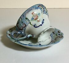 Vintage Merit White with Blue Floral with Moriage Tea Cup and Saucer Set Japan