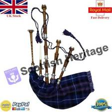 Full Size Scottish Bagpipe Silver Natural Finish With Tutor Book Starter Package