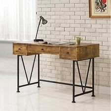Vintage Writing Desk Office Computer Rustic Secretary Industrial Table 3 Drawer