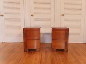 Vintage Midcentury Art Deco End Side Tables, Pair