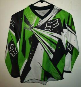 Fox Racing Long Sleeve Shirt~~Youth~Green/Black/White~~ Measures: 22 x 15.5~~
