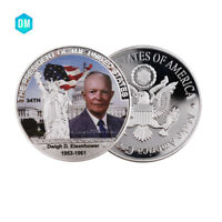 The 34th President of The US 999 Silver Plated Coin Dwigh D Eisenhower Coin