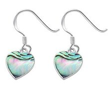 Abalone Shell Heart Dangle Style .925 Sterling Silver Earrings
