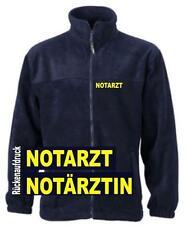 Notarzt Fleece Jacke / navy mit Brust- und Rückenaufdruck in neongelb Neu*