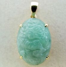 "1"" Chinese 14K Gold Pendant with A Grade 17.8mm Carved Dragon Green JADEITE Jade"