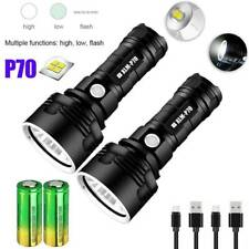 P70 LED Flashlight Torch Tactical 990000LM Super Bright Rechargeable Battery US
