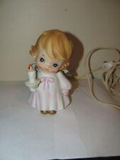 Vintage Ceramic Guardian Angel Girl Nite Lite Night Light Bedside Lamp
