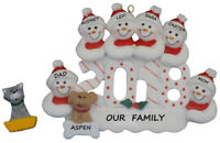 Personalized 2018 Snowman Family of 6 with a Dog or Cat Christmas Ornament