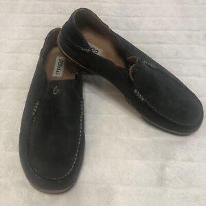 Olukai Moloa Mens Size 13 US Slip On Loafer Black Leather Mule
