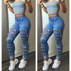 New Sexy Women Denim Skinny Pants Ripped Hole Stretch Jeans Slim Pencil Trousers