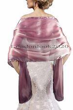 Ladies Evening Dress Plum Silky Bridal Bridesmaid Wedding Prom Shawl Stole Wrap