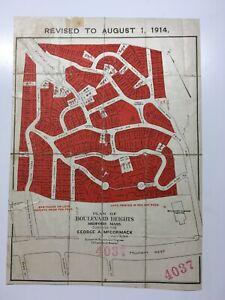 Antique Original 1910 Plan of Land Boulevard Heights Medford, Massachusetts