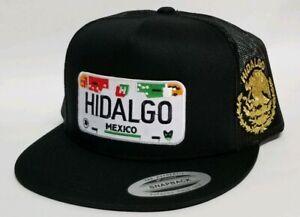 HIDALGO  MEXICO PLACA HAT MESH TRUCKER BLACK   SNAP BACK NEW