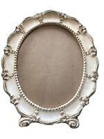 "Antique Syroco Oval picture  frame Antique White 12 1/2""x 10 1/2""Ornate Design"