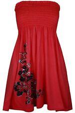 Ladies Women's Sheering Bandeau Boobtube Floral Top Mini Dress 4-14