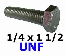 1/4 x 1 1/2 UNF Bolts / Set Screws Stainless Steel UNF Fully Threaded x10