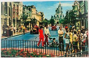 Vintage Florida Walt Disney World Main Street USA Postcard 1970's