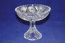 Vintage Footed Cut Crystal Hobstar Fan Saw Tooth Candy Dish Bowl